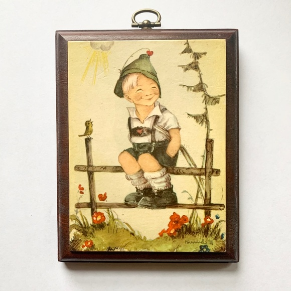 Vintage Hummel Boy Decor- Mini Frame